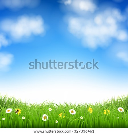 Nature Background With Grass And Clouds With Gradient Mesh, Vector Illustration - stock vector