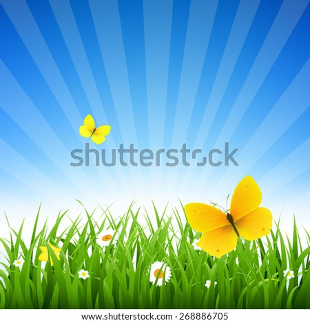Nature Background With Grass And Flowers With Gradient Mesh, Vector Illustration - stock vector