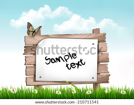 Nature background with green grass and flowers and wooden sign Vector - stock vector