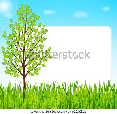 Nature background with green grass, tree and blue sky