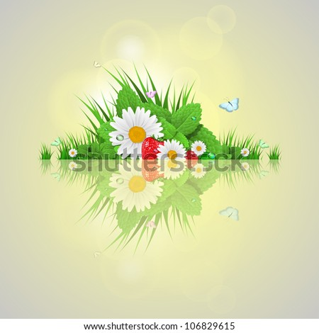 nature background with leaves and grass - stock vector