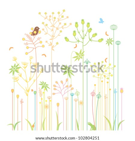 Nature background with most bushes and pond life - stock vector