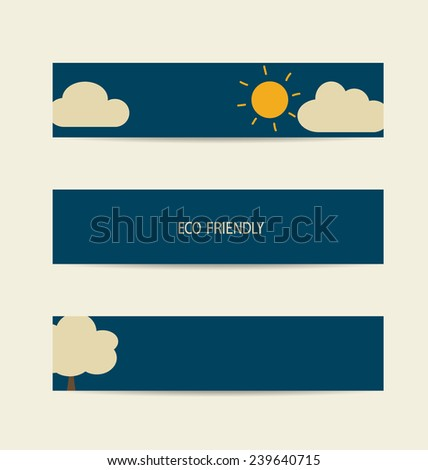 Nature banner, Eco labels and cards with sun and cloud background. Vector illustration. - stock vector