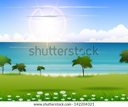 nature beach background for you design - stock vector