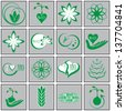 Nature & bio icons set, vector - stock vector