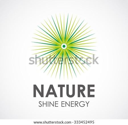 Nature circle shine abstract vector and logo design or template green business icon of company identity symbol concept - stock vector