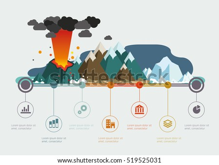 Nature climate infographic time line. Volcano. Vector illustration