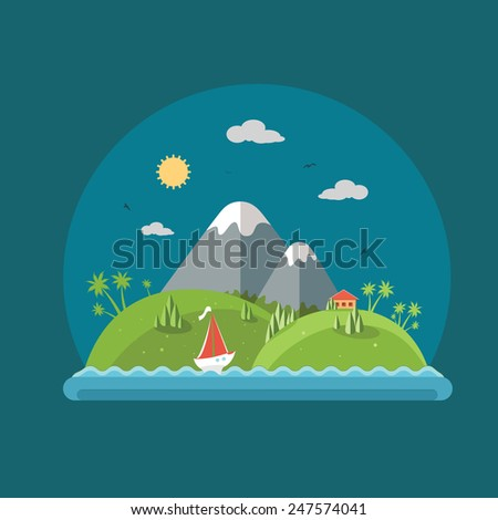 Nature - Color vector flat icon set and illustration summer time: village, mountain, sun, clouds, trees nature, sea, boat, sail, fishing, walking, fresh air. - stock vector