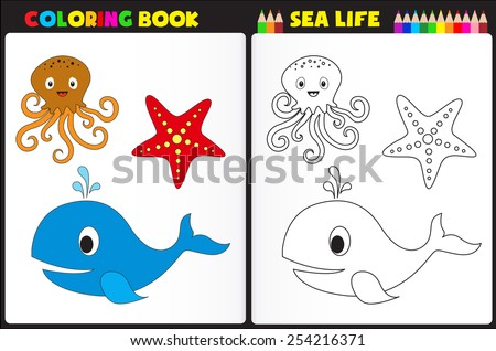 Nature coloring book page / activity worksheet for preschool kids with colorful sea animals - stock vector