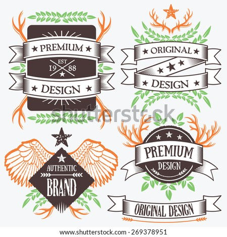 Nature concept ribbon banners and badges set. Creative design elements, logo design templates. High quality vector illustration. Orange, green, white, brown colors. Isolated on grey background.  - stock vector