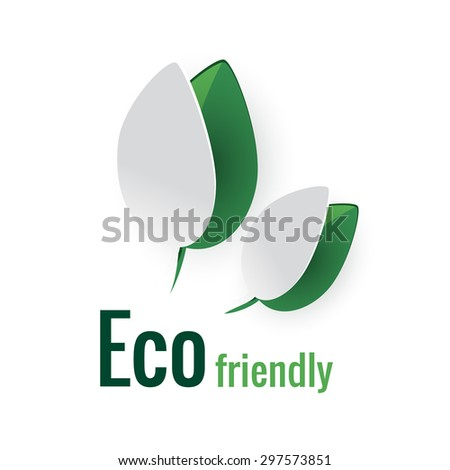 Nature concept with paper leafs and sign eco friendly. Vector abstract illustration - stock vector