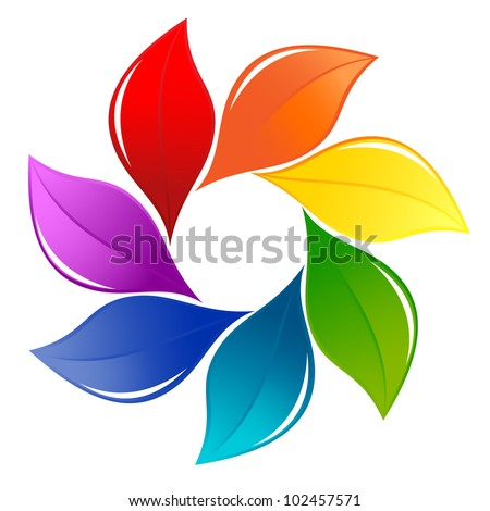 Nature design element in rainbow colors - stock vector