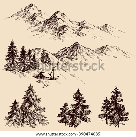 Nature design elements, mountains and pine trees set - stock vector
