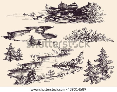 Nature design elements set. Boats on water, river, lake, flowers and trees - stock vector