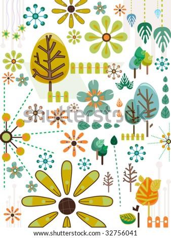 Nature Doodles in Retro Colors - Vector - stock vector