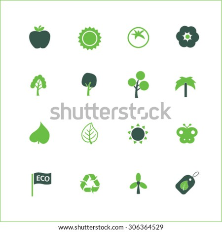nature, ecology icons, signs, illustrations  - stock vector