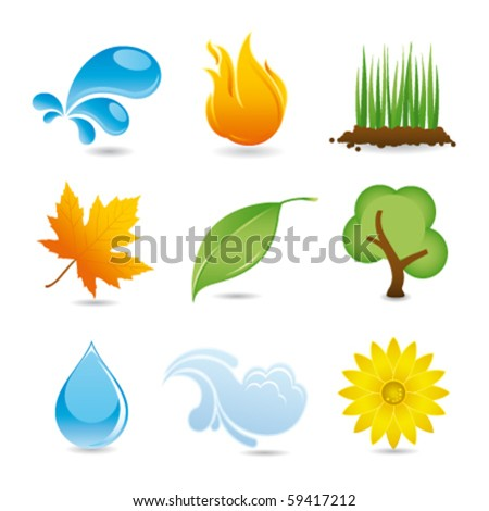 nature elements - stock vector