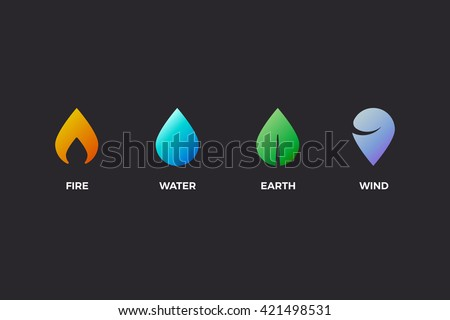 Nature elements. Water, Fire, Earth, Air. Design elements on dark background. Templates for renewable energy or ecology logos, emblems or cards. Alternative energy sources - stock vector