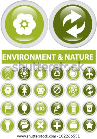 nature & environment buttons, icons set, vector - stock vector