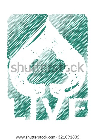 nature environmental love symbol with live text, hand draw vector illustration isolated on white - stock vector