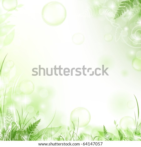 nature floral air background with bubbles - stock vector