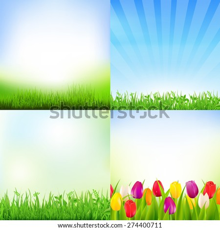 Nature Flowers Card With Gradient Mesh, Vector Illustration - stock vector