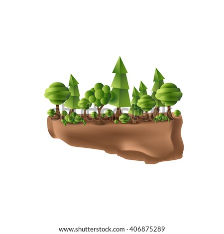 Nature. Forest on a small piece of ground in a cartoon style. It can be used for games or as an icon or illustration. Earth Day. Ecology. Trees, shrubs, bushes, landscape. Vector design - stock vector