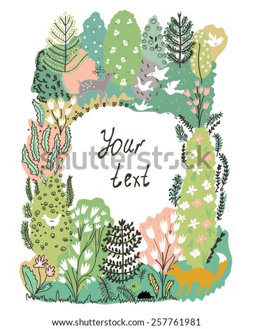 Nature frame with trees, animal and birds - forest illustration - stock vector