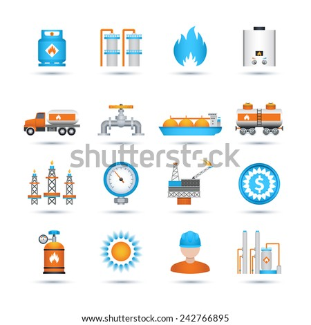 Nature gas fuel and energy industry icons set isolated vector illustration - stock vector