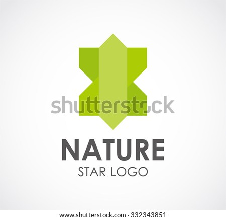 Nature green star abstract vector and logo design or template ecology business icon of company identity symbol concept - stock vector