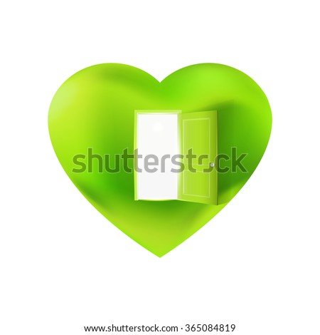 Nature heart with open door. Vector Illustration of Open heart. Eco friendly concept. Green technology and facilities logo. Ecology identity symbol.  - stock vector