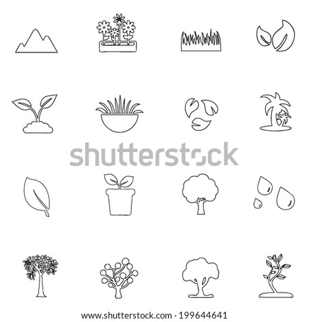 Nature icons line drawing by hand Set 5