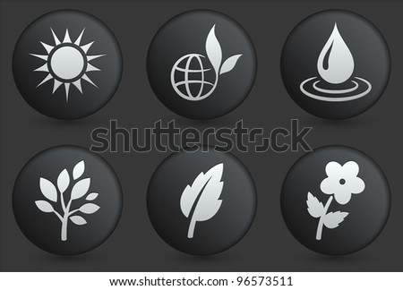Nature Icons on Black Internet Button Collection Original Illustration - stock vector