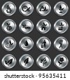 Nature Icons on Metallic Button Collection Original Illustration - stock photo