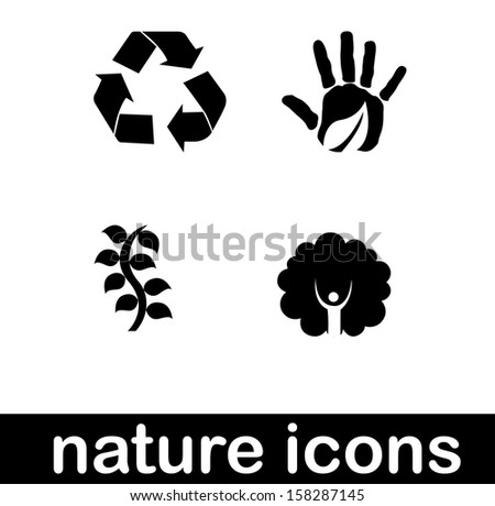 nature icons  over white background vector illustration  - stock vector