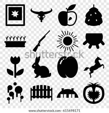 Nature icons set. set of 16 nature filled icons such as udder, berry, peach, rabbit, bull skull, plant in pot, fence, apple, tomato, photo, flower, barn, horse, blood