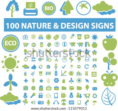 nature icons set, vector - stock vector