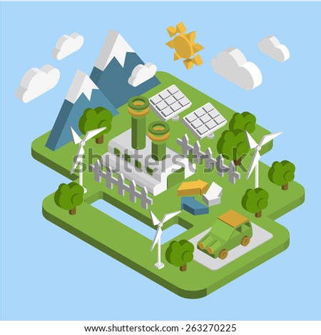 Nature landscape . Apartment 3d isometric ecology green energy consumption of renewable energy sustainable development web processing infographic vector concept . - stock vector