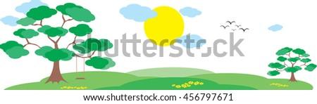 nature landscape background, cute bottom paper design - stock vector