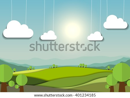 nature landscape background, cuted paper design - stock vector