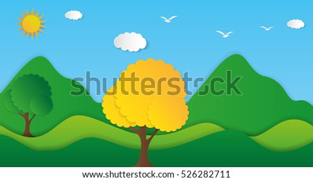 Nature landscape background. Cuted paper design. Vector eps10