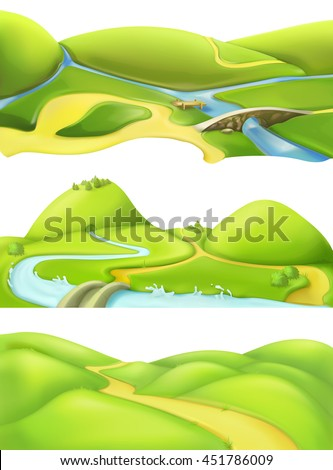 Nature landscape, cartoon game backgrounds, vector set