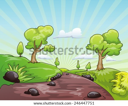 nature landscape cartoon illustration - stock vector
