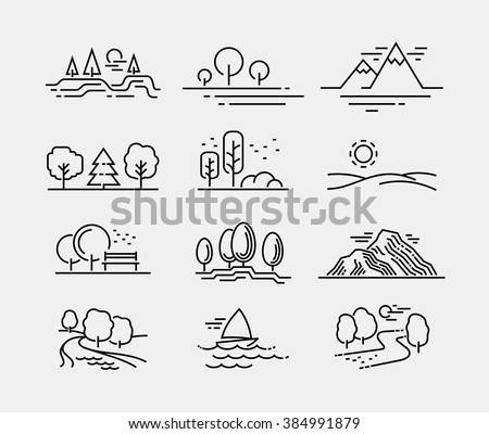 Nature Landscape Icons  - stock vector