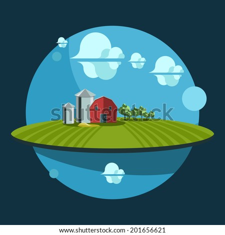 Nature landscape illustration. Farm fresh. Flat design icon