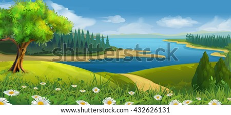 Nature landscape, stream valley, vector background - stock vector