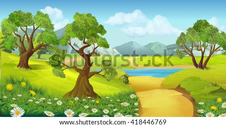 Nature, landscape, vector background - stock vector