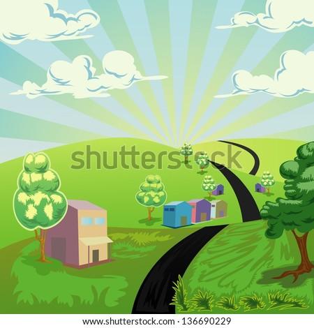 nature landscape vector illustration - stock vector