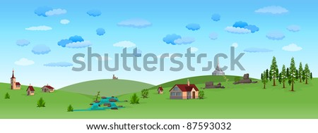 Nature Landscape with Blue Sky - stock vector