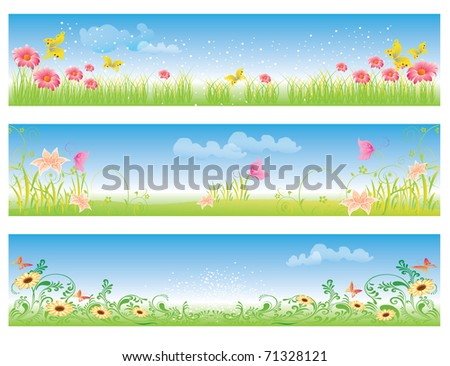 nature landscape with flowers, grass and blue sky - stock vector